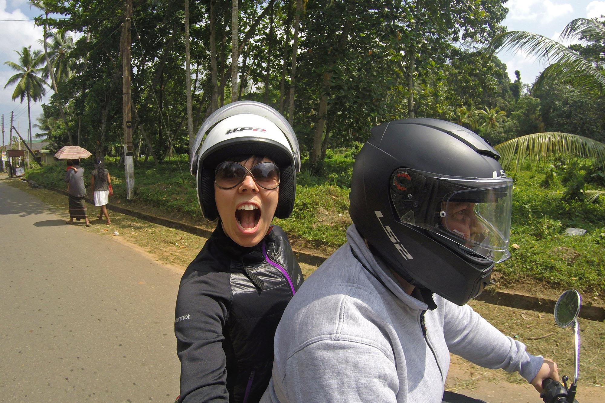 På motorsykkeltur med Elisabeth.